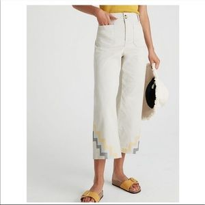 NEW Anthropologie Hallee Embroidered Wide Leg Pant